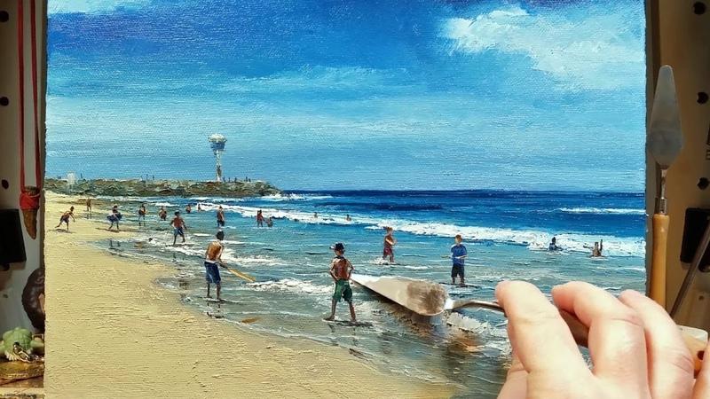 City Beach Perth - Palette Knife   Brush Oil Painting - Ocean Coast Sea Dusan