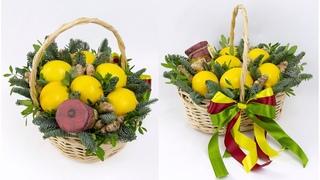 Букет из фруктов в корзине своими руками. Берем мед, лимоны и имбирь и делаем красивые подарки