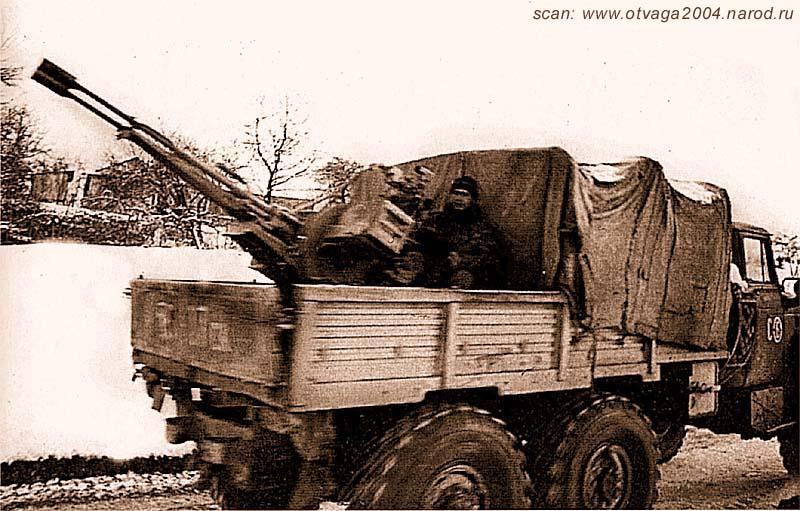 Сопровождение транспортной колонны Уралом-4320 с ЗУ-23. Чечня, февраль 2001 года