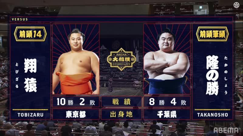 Tobizaru vs Takanosho - Aki 2020, Makuuchi - Day 13