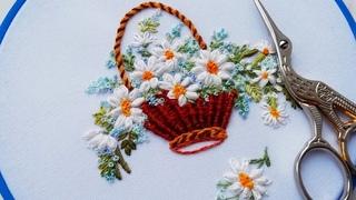 Flower embroidery :Daisies 🌼Цветочная вышивка: Ромашки