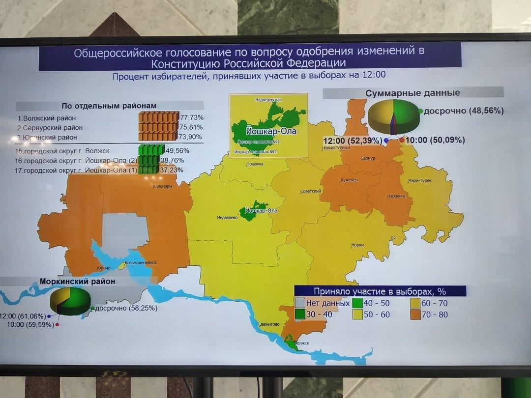 Более 50% избирателей проголосовали по поправкам в Конституцию РФ в Марий Эл