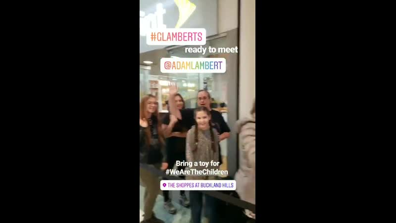 AdamLambert at The Shoppes at Buckland Hills in Manchester USA @96 5TIC M G with fans 14 12 2019