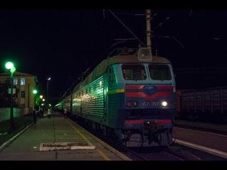 Смена локомотива 2ТЭ10УТ-0058 на ЧС7-307 по ст.Апостолово