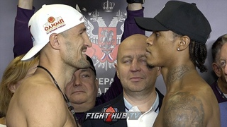 """🦁SERGEY KOVALEV 🦁GIVES ANTHONY YARDE """"I MUST BREAK YOU"""" SMILE OF DOOM DURING WEIGH IN FACE OFF"""