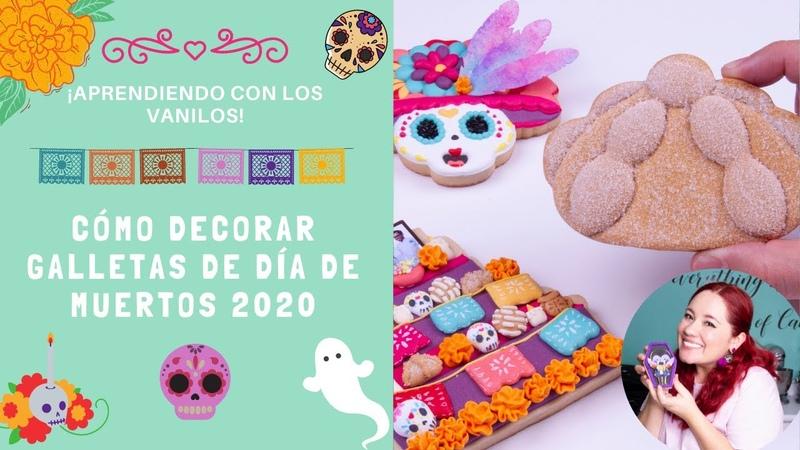 Cómo decorar galletas de día de muertos Altar vela con flor y pan de muerto cortadores 2020