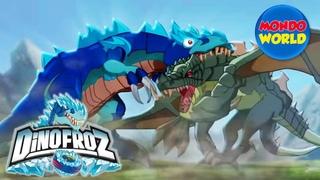 DINOFROZ episode 1 | dinosaur cartoon for kids | THE ORIGIN | Dinosaurs fight dragons