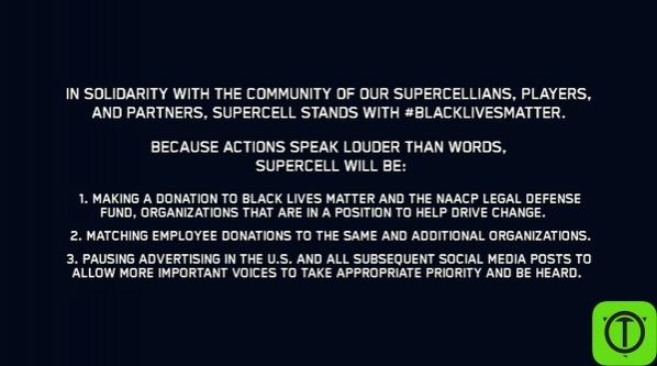 Из официального твиттера Supercell: В знак солидарности с