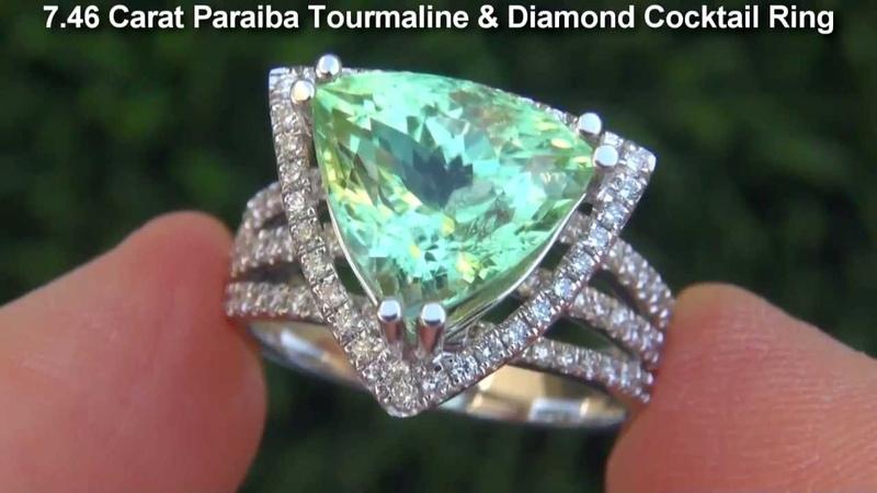 GIA Estate 7.46 ct VVS2 Paraiba Tourmaline Diamond 18k White Gold Vintage Ring