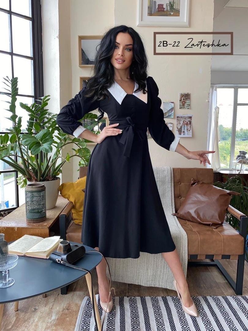 Получили НЕ ПУТАЕМ С ДЕШЕВЫМ ПЕРЕШИВОМ  New Collection 2020  Очаровательное платье Анжелика   Размер : S , M , L , XL ( 42 , 44 , 46 , 48 )  цвет: бежевый и черный  ткань: барби  Элегантеное платье , комбинированное красивым воротничком и манжетами так ро