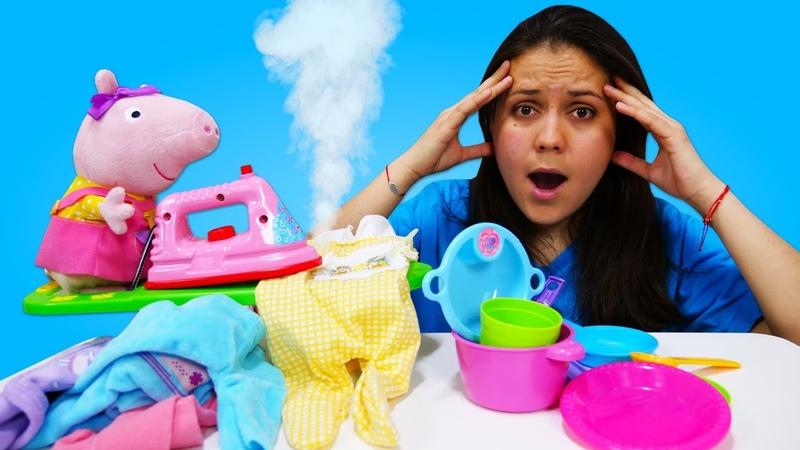 ¿Cómo hacer las tareas a tiempo Juguetes de Peppa Pig Vídeos para niños