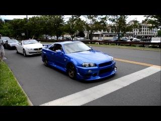 MODDED Nissan Skyline R34 LOUD REVS and HUGE Acceleration onto freeway