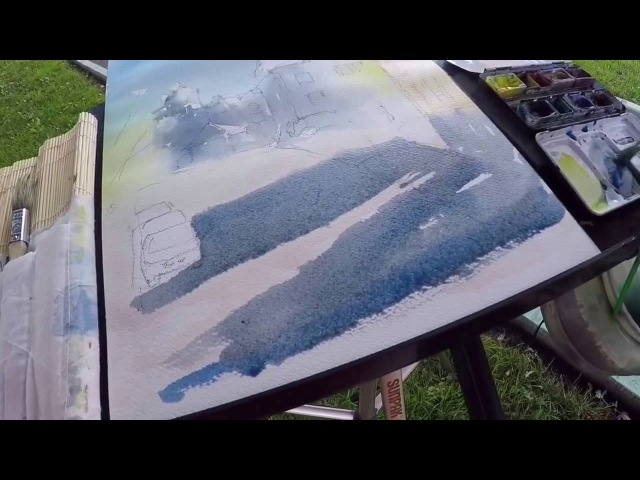 How I painted long dark shadows in my watercolor sketch