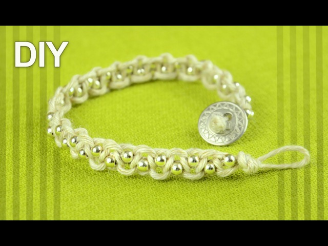 Easy Macrame Bracelet with Beads and Button Clasp Tutorial