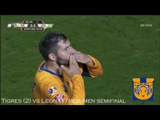 Tigres (2) vs Leon (1) SEMIFINALES VUELTA LIGA MX 3/DIC/16