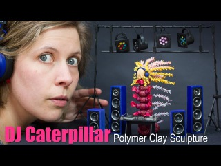 Polymer Clay DJ Set and Caterpillar Sculpture // Turntable & Speakers // Art Time Lapse