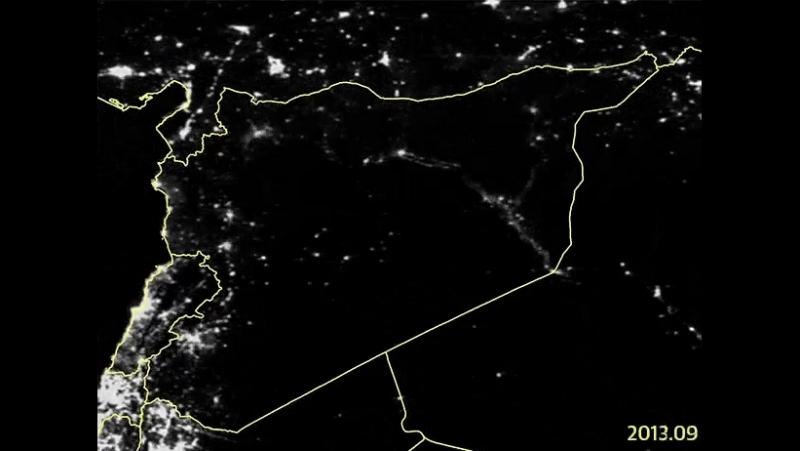 Спутниковые снимки сравнивающие уровень освещения Сирии с 2011 по 2015 год