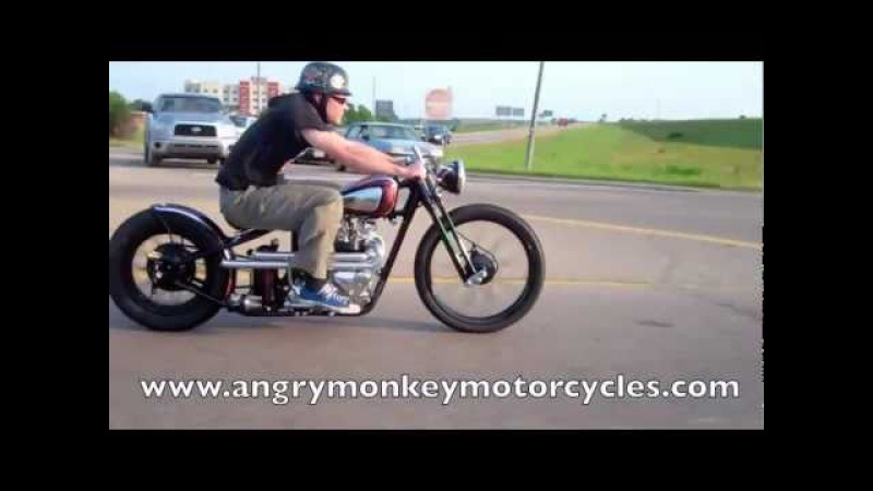 Kustom 1969 Triumph Bobber Black Adder Riding in Traffic