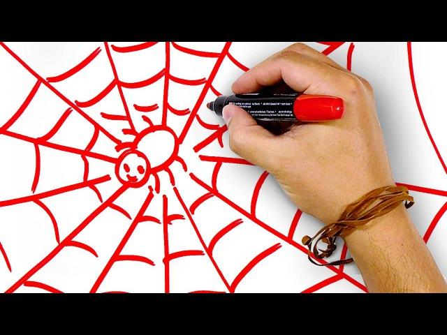 Красный Паук на Паутине, рисуем маркером