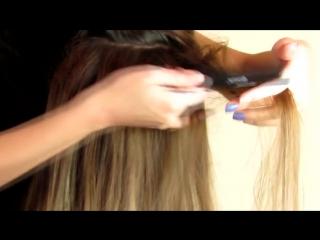 Как правильно крепить волосы на заколках  (трессы накладные пряди)