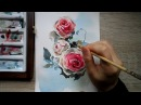 Watercolor red rose demonstration