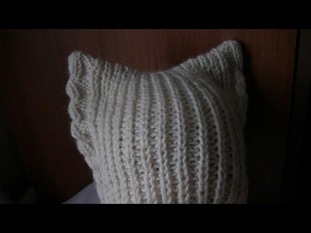 Вязание шапки с ушками на спицах Knitting hats with ears on the needles