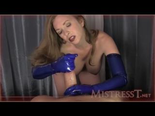 Mistress t - blue rubber glove milking