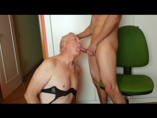 Crossdresser - eat cum - old and young - slave - old man - suck cock - oldman - swallow - twink - boy - daddy - old gay -