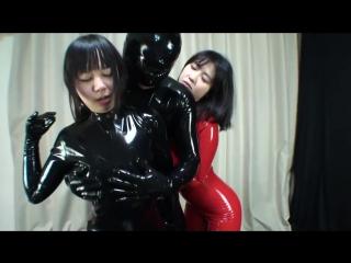Japanese latex rubber girl x2 mask hood catsuit fingering th