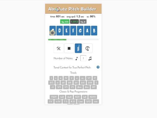 F dur 95% мелодический контекст 2017 12 02 Развитие абсолютного слуха в программе Absolute Pitch Builder В основе методика Бережанского