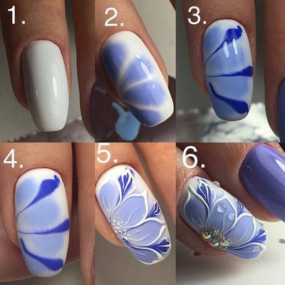 Бело Золотой Дизайн Ногтей