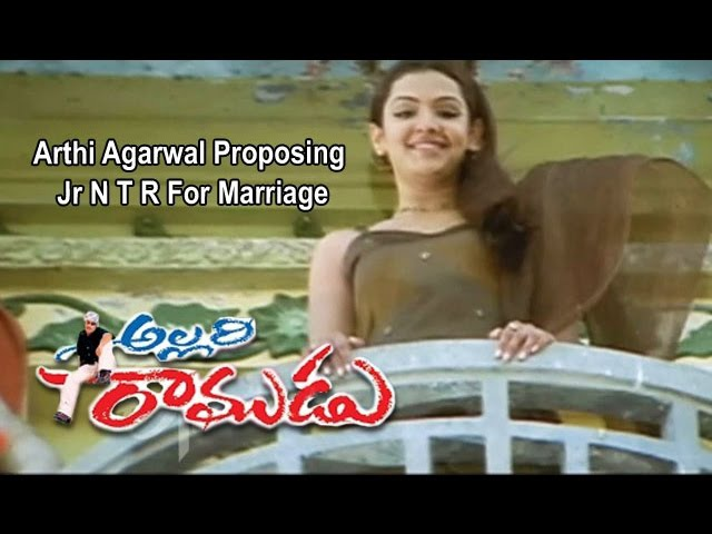 Allari Ramudu Telugu Movie Arthi Agarwal Proposing Jr NTR For Marriage Gajala ETV Cinema