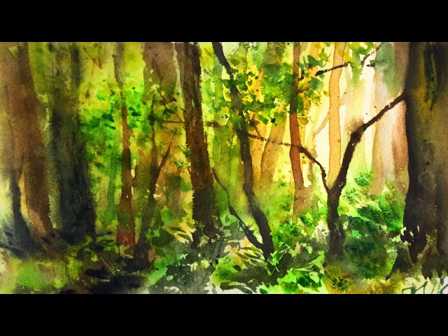 Simple Watercolor Forest Demonstration