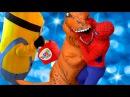 Замароженный Эльза и Человек Паук Тирекс нападает на Миньоны /w Паук против Дин