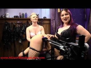 Mistress alice & denali winter - sissy fucking machine humiliation