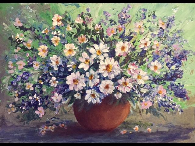 Акрил. Полевые цветы. Рисуем фон мастихином. Acrylic. Summer flowers in acrylic.