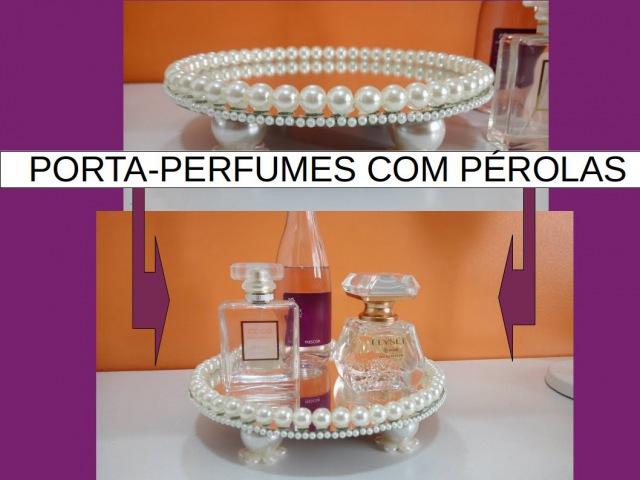 Bandeja de espelho e pérola pra perfume