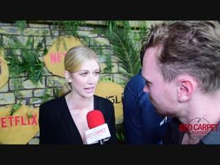 Katherine mcnamara interviewed at netflix premiere of mowgli  legend of the jungle #netflix #mowgli