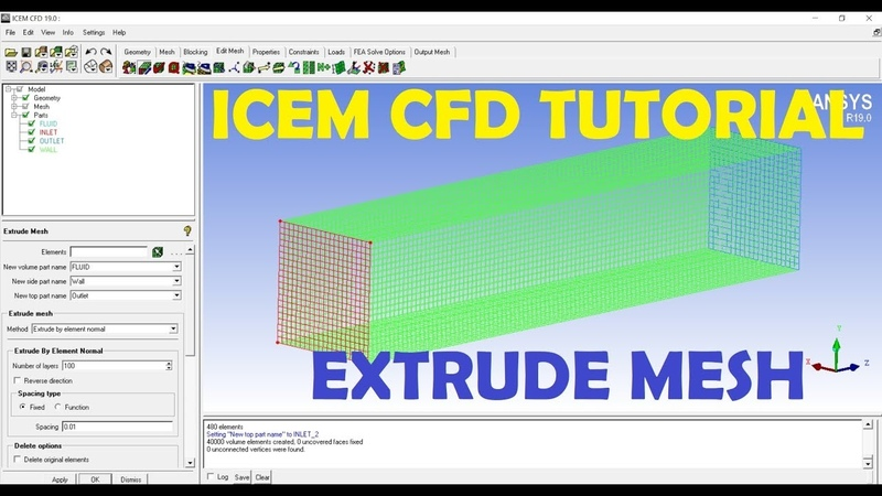 ICEM CFD - Extrude Mesh - Basic Tutorial 5