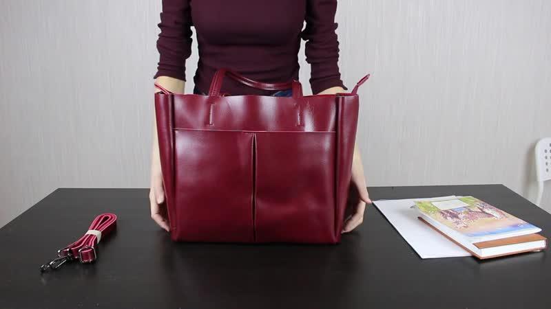 Обзор деловой дамской сумки из натуральной кожи 567881М