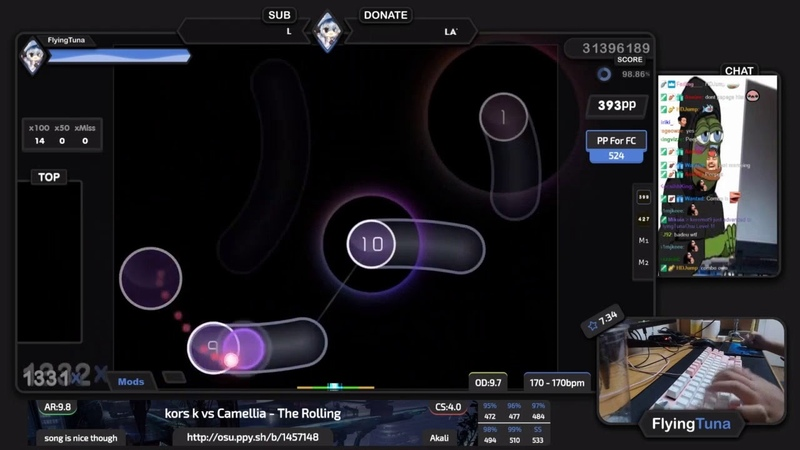 Live FlyingTuna kors k vs Camellia The Rolling song is nice though 97 17% 1 💖 8❌ osu