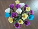Làm hoa bằng giấy nhún đơn giản mà đẹp.