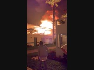 Breaking fire followed by a massive explosion at las palmas beach club in asia, peru