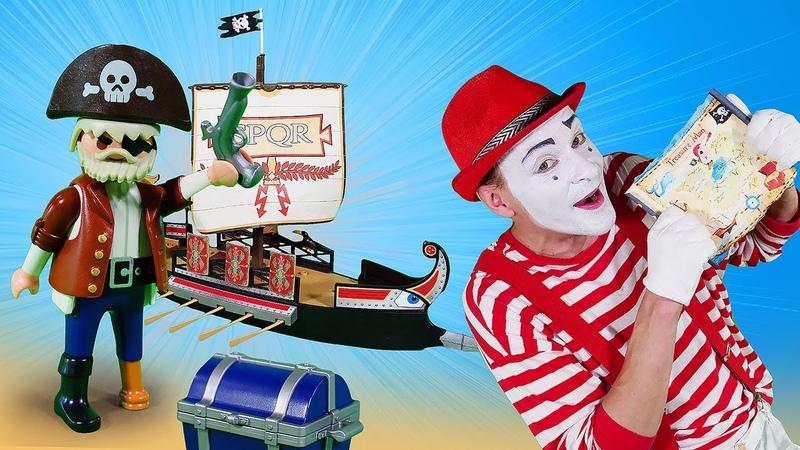 Пираты в поисках сундука с сокровищами. Видео для детей с игрушками.