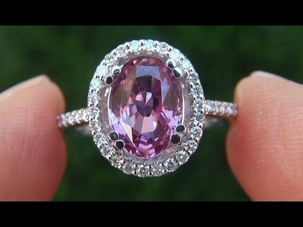 Estate VVS2 Natural UNHEATED Pink Sapphire Diamond 14k White Gold Ring - A141697