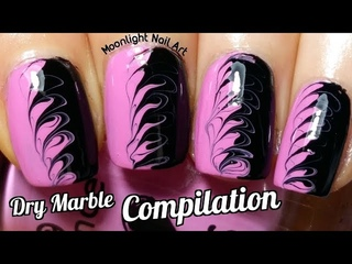 Easy Nail Ideas - Drag Dry Marble Special Compilation