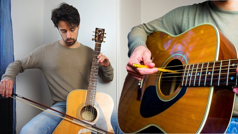 Violin, cello, viola imitations on guitar with pencil and bow