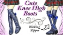 Cute Knee High Boots w working zipper BJD Barbie Doll Tutorial
