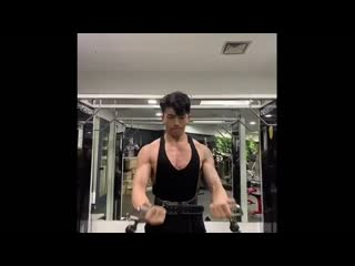 Muscle korean guy in the gym
