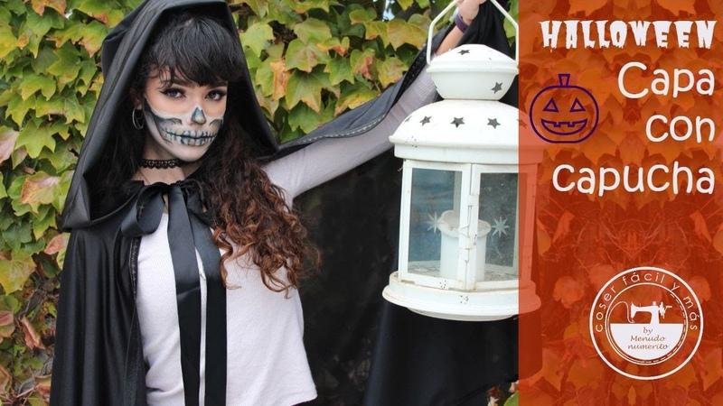 Capa con capucha para Halloween disfraz fácil